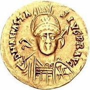 1 Solidus - Gundobad / In the name of Anastasius I, 491-518 (Lugdunum/Lyon; with monogram) – obverse