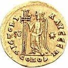 1 Solidus - Gundobad / In the name of Anastasius I, 491-518 (Lugdunum/Lyon; with monogram) – reverse