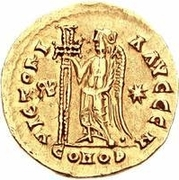 1 Solidus - Gundobad / In the name of Anastasius I, 491-518 (Lugdunum/Lyon; with monogram) – reverse