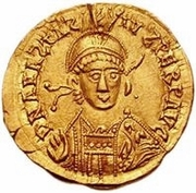 1 Solidus - Gundobad / In the name of Anastasius I, 491-518 (Lugdunum/Lyon; without monogram) -  obverse