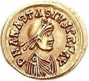 1 Tremissis - Godegisel / In the name of Anastasius I, 491-518 (Lugdunum/Lyon) -  obverse