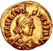 1 Tremissis - Gundobad / In the name of Anastasius I, 491-518 (Lugdunum/Lyon) -  obverse