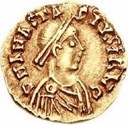 1 Tremissis - Sigismund / In the name of Anastasius I, 491-518 (Lugdunum/Lyon) -  obverse
