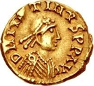 1 Tremissis - Sigismund / In the name of Justin I, 518-527 (Lugdunum/Lyon) – obverse