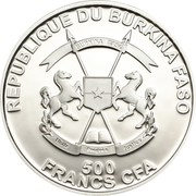 500 Francs CFA (Lilac Breasted Roller) – obverse