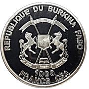 1000 Francs CFA (Red Deer Stag) – obverse