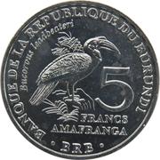 5 Francs (Bucorvus leadbeateri) -  reverse