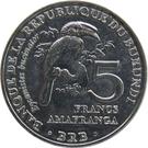 5 Francs (Bycanistes bucinator) – reverse