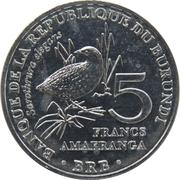 5 Francs (Sarothrura elegans) – reverse