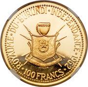 100 Francs - Mwambutsa IV (Independence) – reverse