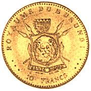 10 Francs  - Mwambutsa IV (50th Anniversary) – reverse