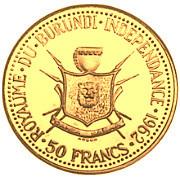 50 Francs  - Mwambutsa IV (Burundi Independence) – reverse