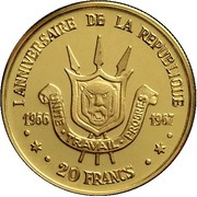 20 Francs (First Anniversary of Republic) – reverse