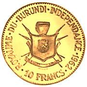 10 Francs  - Mwambutsa IV (Independence) – reverse