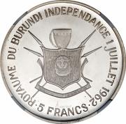 5 Francs - Mwambutsa IV (Independence) – reverse