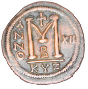 40 Nummi - Justinian I (Cyzicus; bust facing, dated reverse) – reverse