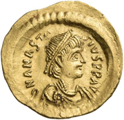 Tremissis - Anastasius I Dicorus (VICTORIA AVGVSTORVM; Constantinopolis) -  obverse