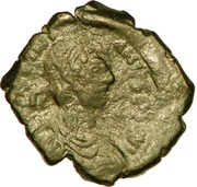 16 Nummi - Justinian I (Thessalonica; Type A Δ K) – obverse