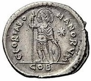 Miliarense  - Anastasius I Dicorus (GLORIA ROMANORVM; Constantinopolis; Spear and Shield) – reverse