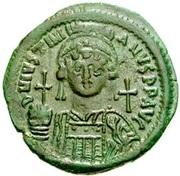 20 Nummi - Justinian I (Constantinopolis; Bust Facing) – obverse