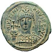 40 Nummi - Justinian I (Antioch; Θ⊽ΠO; Bust Facing) – obverse