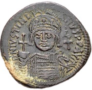 40 Nummi - Justinian I (Antioch; τHЧΠ∕; Bust Facing) – obverse