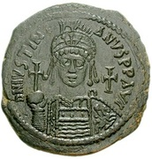 40 Nummi - Justinian I (Antioch; CHЄЧPO; Bust Facing) – obverse