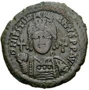 20 Nummi - Justinian I (Antioch; ΘV; Bust Facing) – obverse