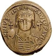 20 Nummi - Justinian I (Carthage; S, Bust Facing) – obverse