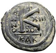 20 Nummi - Justinian I (Carthage; SO, Bust Facing) – reverse