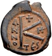 20 Nummi - Justin II and Aelia Sophia (Thessalonica; + type) – reverse