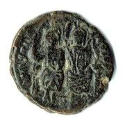 ½ Follis - Justinus II & Sophia (Nicomedia) – obverse