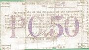 50 Centavos (With revenue stamp) – reverse