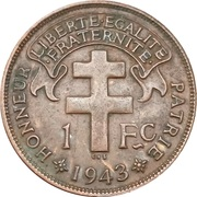 "1 Franc (with ""LIBRE"") – reverse"