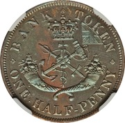½ Penny - Bank of Upper Canada – reverse