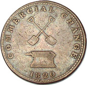 ½ Penny (Sloop Token - Commercial Change, Shovels/Anvil) – reverse