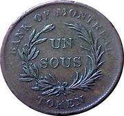 """1 Sous (Bank of Montreal - """"Bank of Montréal"""" - """"TOKEN"""") – reverse"""