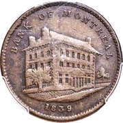 ½ Penny Token (Side View - Bank of Montreal) – obverse