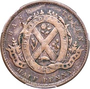 ½ Penny Token (Side View - Bank of Montreal) – reverse