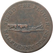 ½ Penny - Perrins Bros (speed the Plough - No labour, No bread) – reverse