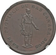 1 Penny / 2 Sous (Bank of Montreal) – obverse
