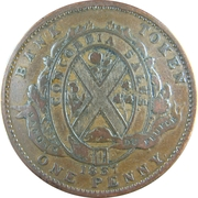 1 Penny / 2 Sous (People's Bank) – reverse