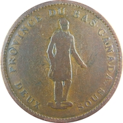 1 Penny / 2 Sous (People's Bank) – obverse