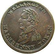 ½ Penny Token (Wellington Token) – obverse