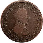 ½ Penny (Victoria Nobis Est) – obverse