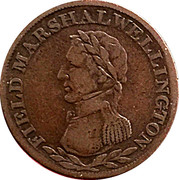 ½ Penny - (Field Marshal Wellington - Large legend letters) – obverse