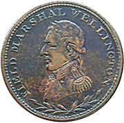 ½ Penny Token (Field Marshal Wellington - Small legend letters) – obverse