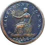 ½ Penny Token (Field Marshal Wellington - Small legend letters) – reverse