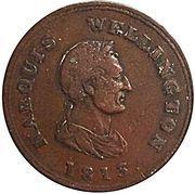½ Penny Token (Marquis Wellington) – obverse