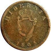 ½ Penny Token (Field Marshal Wellington - Hibernia) – reverse